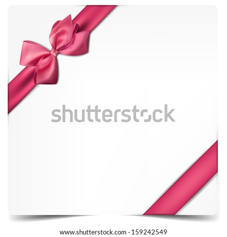 Gift card with ribbon and satin bow. Vector illustration.  - stock vector