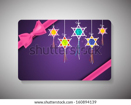 Gift Cards for Happy New Year and Merry Christmas celebrations with pink bow and hanging decorative lights on blue background. - stock vector