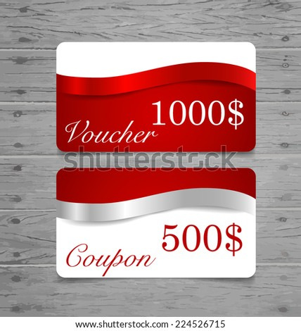 Gift Cards, sale coupon, voucher with red ribbons and silver ribbons. Vector illustration. - stock vector