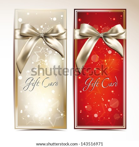 Gift cards with bows and stars - stock vector