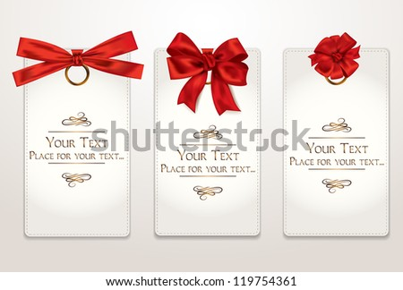 Gift cards with different red bows - stock vector
