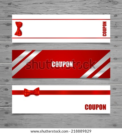 Gift Cards with gift bows and ribbons. Vector illustration. - stock vector