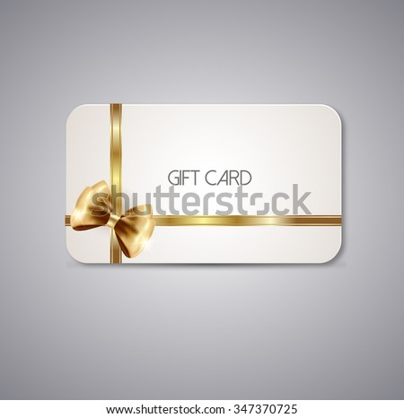 Gift cards with golden bow ribbon  - stock vector