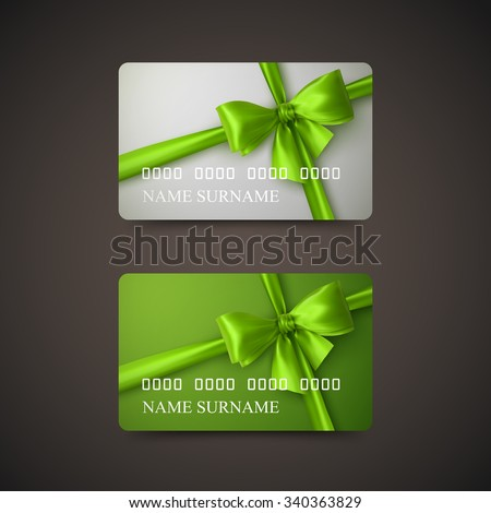 Gift Cards With Green Bow And Ribbon. Vector Illustration. Gift Or Credit Card Design Template - stock vector