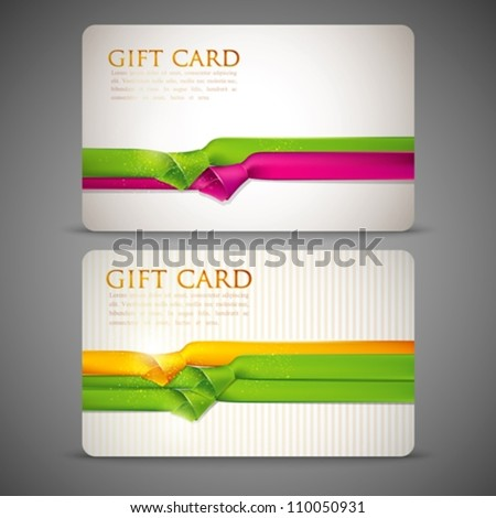 gift cards with multicolored ribbons - stock vector