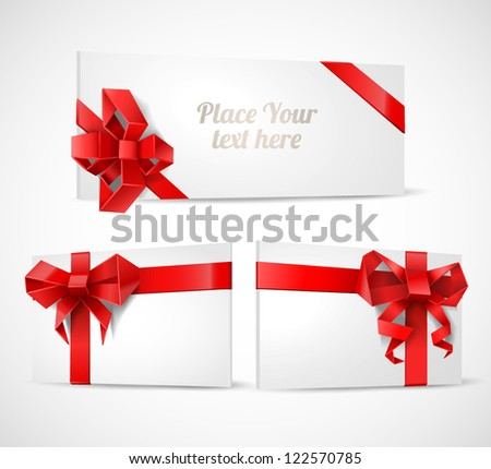 Gift cards with origami bows set - vector illustration. - stock vector