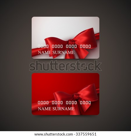 Gift Cards With Red Bow And Ribbon. Vector Illustration. Gift Or Credit Card Design Template - stock vector