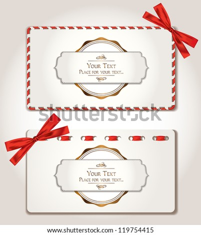 Gift cards with red ribbons - stock vector