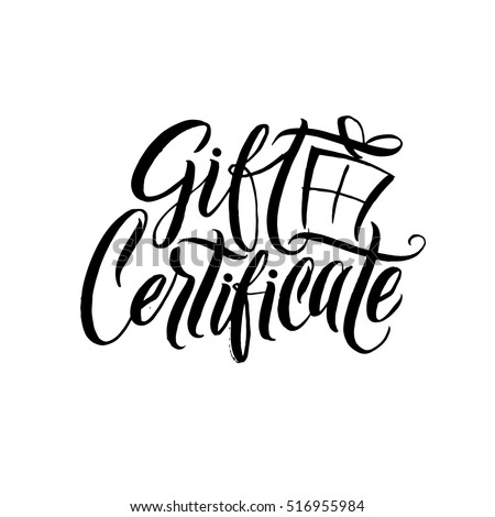 Gift certificate black calligraphy on white gift certificate black calligraphy on white background vector illustration negle Choice Image