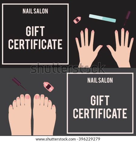 Gift certificate for a nail salon. Flat design. French manicure. Manicure procedure. Woman hand. Manicure spa. Manicured hands. Beauty salon. Certificate for a pedicure. Certificate for a manicure. - stock vector