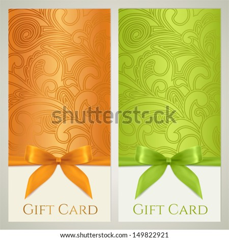 Gift certificate, gift card, Voucher, Coupon template with floral (scroll, swirl) pattern, bow (ribbons, present). Background design for invitation, ticket, banner. Vector - stock vector