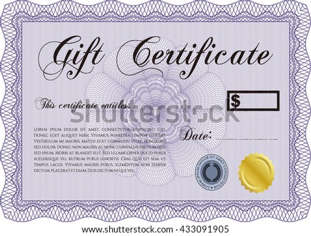 Gift certificate template. Beauty design. With linear background. Border, frame.  - stock vector
