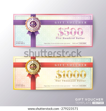 Gift certificate voucher coupon card background template - stock vector