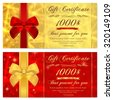 Gift certificate, Voucher, Coupon, Invitation or Gift card template with sparkling, twinkling stars (texture) and bow (ribbon). Red, gold background design for gift banknote, check, gift money bonus - stock vector