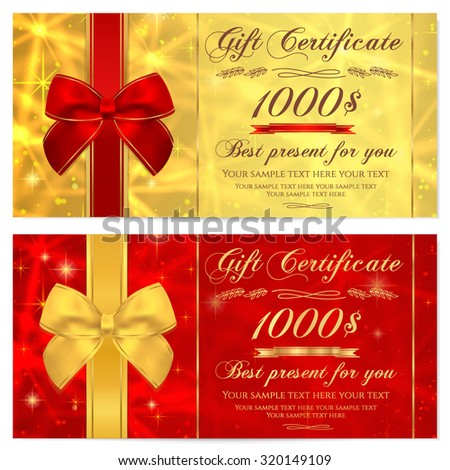 Gift certificate, Voucher, Coupon, Invitation or Gift card template with sparkling, twinkling stars (texture) and bow (ribbon). Red, gold background design for gift banknote, check, gift money bonus