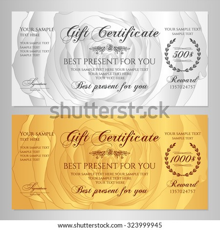 Gift certificate, Voucher, Coupon, Reward / Floral Gift card template with rose (flowers pattern). Feminine background design set for gift banknote, check, gift money bonus, ticket, flyer, gold banner - stock vector