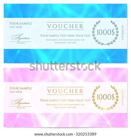 Gift Certificate Voucher Coupon Template Blue Vector – Voucher Sample Design