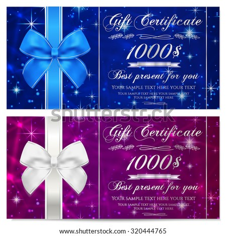 Gift certificate, Voucher, Coupon, Reward or Gift card template with sparkling, twinkling stars texture, ribbon. Dark blue background design for gift banknote, check, gift money bonus, flyer, banner