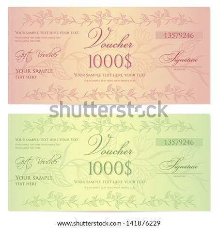 Gift Certificate, Voucher, Coupon Template (layout) With Floral Pattern  (watermark)  Money Voucher Template
