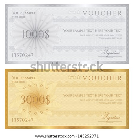 Gift certificate / Voucher / Coupon template with guilloche pattern (watermarks), border. Background for banknote, money design, currency, note, check (cheque), ticket, reward. Cold, silver vector - stock vector