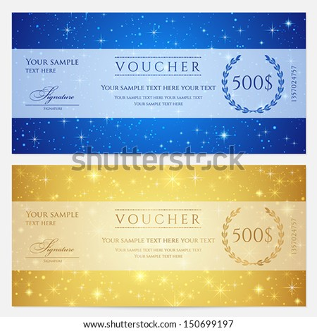 Gift certificate voucher coupon template sparkling stock vector gift certificate voucher coupon template sparkling stock vector 150699197 shutterstock yadclub Image collections