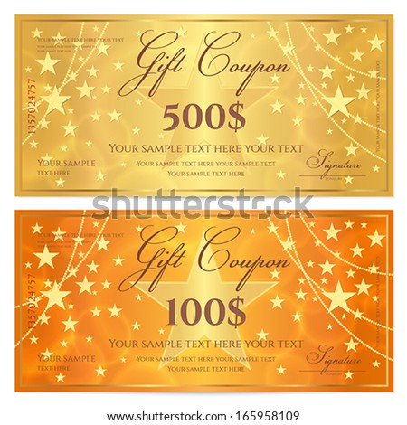 Gift certificate, Voucher, Coupon template with stars pattern. Holiday gold and orange background for money design, currency, note, check (cheque), ticket, reward. Vector - stock vector