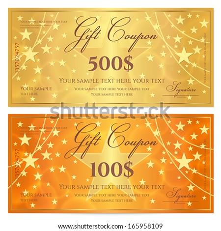 Voucher Gift Certificate Coupon Template Floral Vector – Ticket Voucher Template