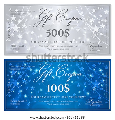 Gift certificate, Voucher, Coupon template with stars pattern. Holiday silver and blue background for money design, currency, note, check (cheque), ticket, reward. Vector - stock vector