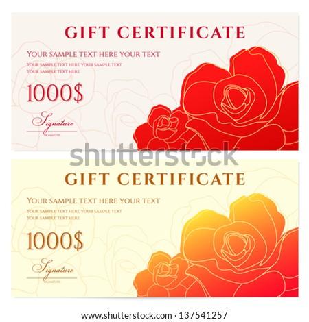 Gift Certificate Voucher Template Flower Pattern Stock Vector