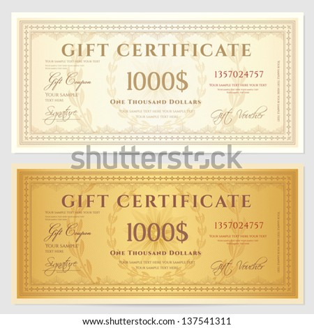 Gift certificate / Voucher template with guilloche pattern (watermarks) and border. Background usable for coupon, banknote, money design, currency, note, check etc. Vector in golden and vintage colors - stock vector