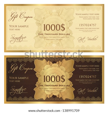 Gift certificate / Voucher template with guilloche pattern (watermarks) and border. Background usable for coupon, banknote, money design, currency, note, check etc. Vector in golden and brown colors - stock vector