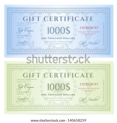 Gift certificate (Voucher) template with guilloche pattern (watermarks) and border. Background design for coupon, banknote, money design, currency, note, ticket, check etc. Colors (green,blue) - stock vector
