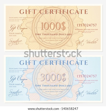 Gift certificate voucher template guilloche pattern stock vector gift certificate voucher template with guilloche pattern watermarks and border background for yelopaper Image collections