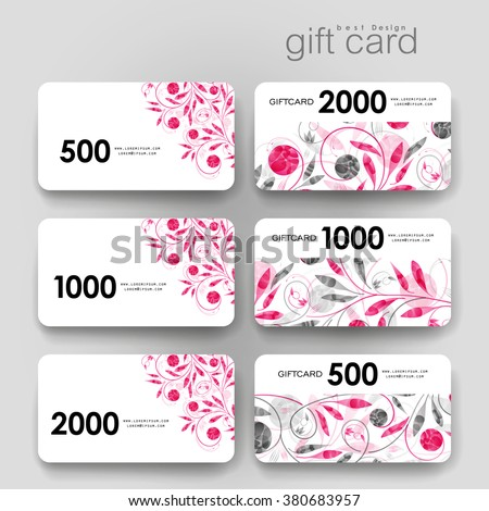 Gift Coupon Discount Card Template Floral Stock Vector