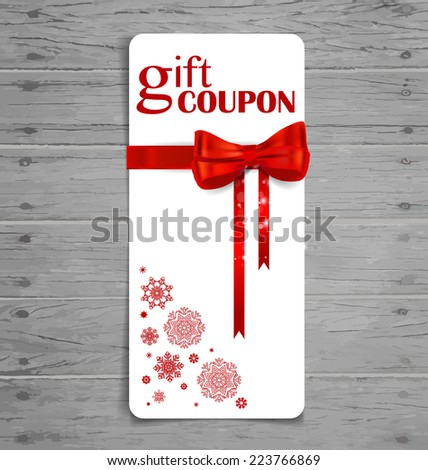 Gift coupon with gift bow and ribbon. Vector illustration. - stock vector