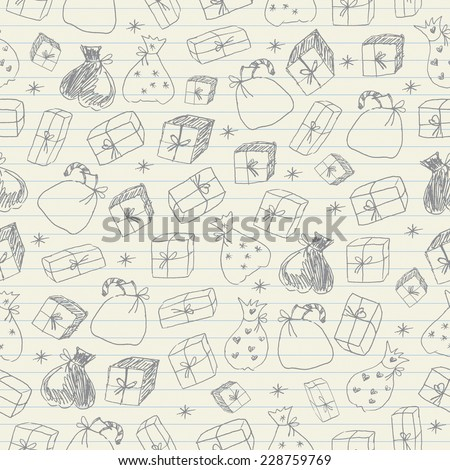 Gift Doodles seamless pattern