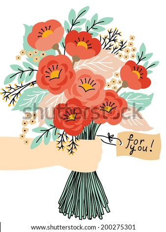 Gift for you! Beautiful flower bouquet. Wedding invitation or greeting card - stock vector