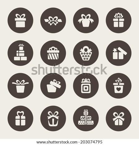 Gift icon set - stock vector