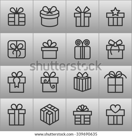 Gift icons / Present icons / Birthday gift  - stock vector