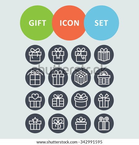 Gift icons. Present icons. Holiday icons. - stock vector
