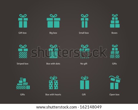Gift icons. Vector illustration. - stock vector