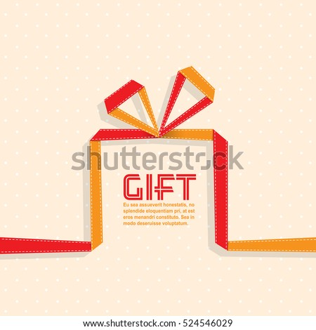 Gift in the style of origami ribbon, gift,  vector illustration