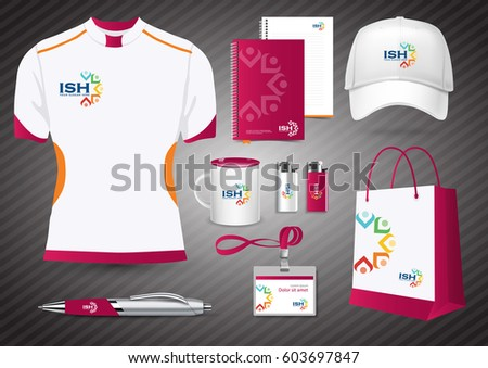 Gift items color promotional souvenirs design gift items color promotional souvenirs design for corporate identity with diagonal lines stationery set negle Images
