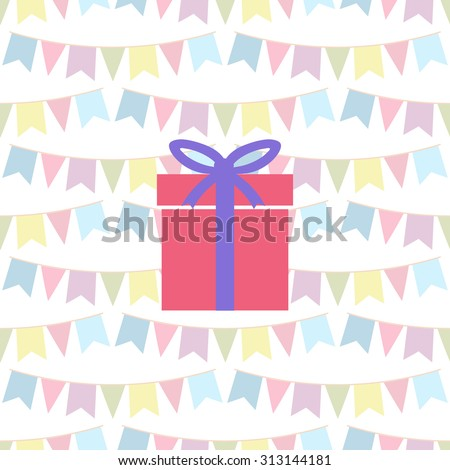 gift on the background of children holiday flags. Vector illustration. - stock vector