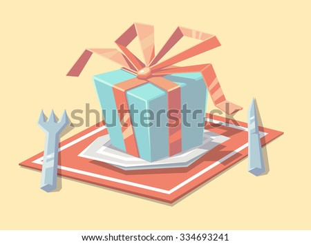 Gift on the plate. Vector illustration. - stock vector
