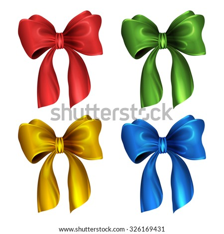 Gift or holiday bow and ribbon. Set of bows. Vector isolated illustration on white background. Easy to recolor
