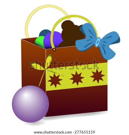 Gift package with a bear, blue, green, violet balls. The package is decorated with a blue ribbon and a yellow strip with three asterisks. Vector illustration - stock vector