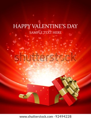 Gift present with confetti hearts Valentine's day vector background eps 10