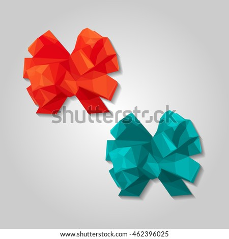 Gift ribbon glossy red bow low resolution flat triangle polygon vector eps10