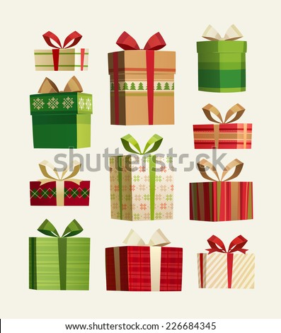 Gift set. Christmas card \ poster \ banner. Vector illustration. - stock vector